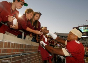 Jameis Winston signing autographs for fans after a Fla St Win